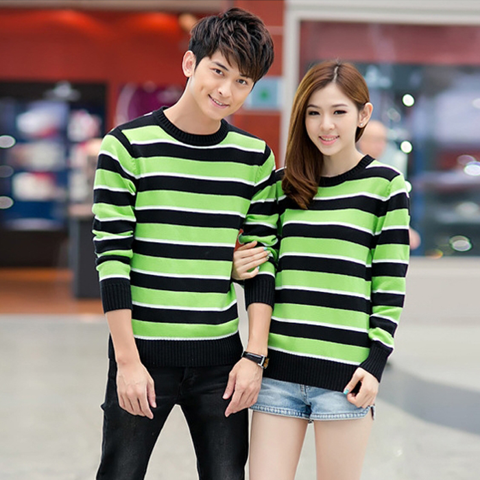 2014 Hitz Korean version of the simple striped sweaters Women's College Wind hedging sweater lovers tide