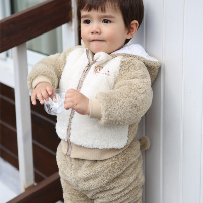 Baby polar bear winter models of men and women out three thick warm hooded cotton baby clothes out clothes