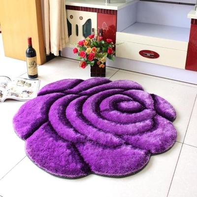 High-end 3D lovely purple roses wedding room bedroom carpet carpet floor mats doormat Disposable Four Seasons General