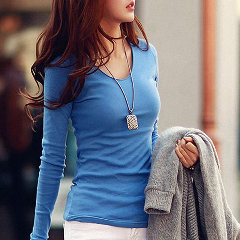2015秋装新款女装上衣韩版修身大码显瘦V领打底衫棉t恤女长袖