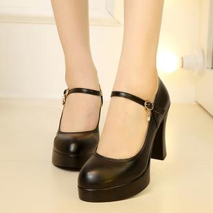 真皮单鞋浅口圆头防水台超高跟粗跟女鞋厚底演出鞋一字扣带模特鞋
