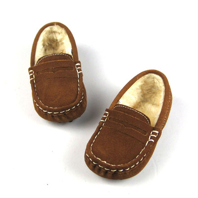 Metal buckle cashmere leather baby shoes, baby shoes Peas kids plush baby shoes toddler shoes step shoes forefoot