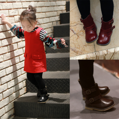 Girls, boys and girls winter boots Martin boots boots leather children shoes girls boots cashmere warm snow boots