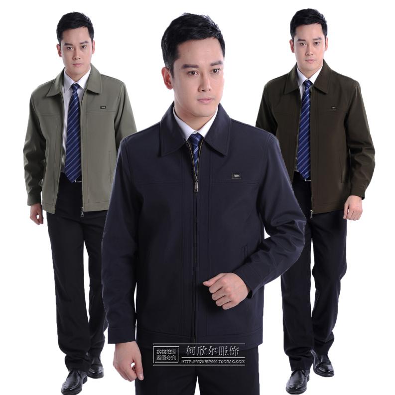 中年男装上衣大码休闲秋季外套中老年人男士夹克衫翻领爸爸装拉链