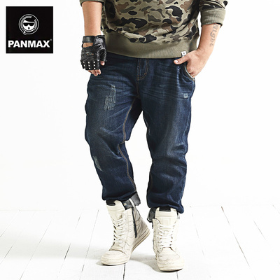 PANMAX Tide brand men's large yard plus fertilizer to increase the influx of loose fat new casual fashion jeans trousers
