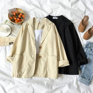 秋装2018女装时尚西装领短外套女百搭纯色大口袋长袖上衣