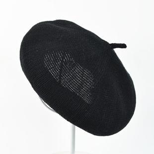 韩国纯色针织棉麻贝雷帽子男女春夏文艺画家帽透气有羊毛冬款