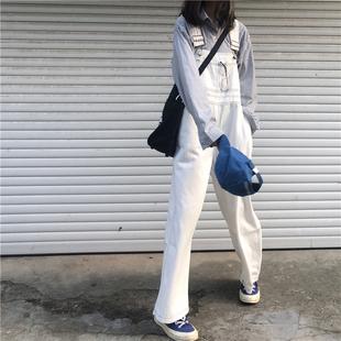 秋季女装复古明线牛仔裤背带裤宽松显瘦连衣裤高腰阔腿裤长裤