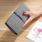 2017夏抽带钱包女长款薄款卡包时尚磨砂女士学生小手拿包