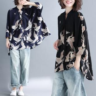 2018夏装复古印花翻领单排扣七分袖宽松大码雪纺衬衫女上衣潮
