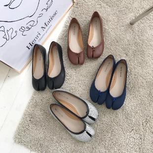 韩国街头时尚小姐姐圆头分趾浅口软皮平底舒适猪蹄单鞋学生女