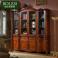 美式实木书柜 欧式书柜书房书橱 带门书柜玻璃门自由组合书柜特价