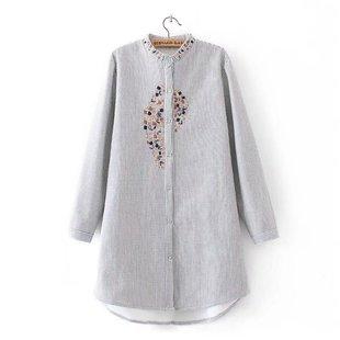 加肥加大码民族风刺绣立领加绒衬衫女中长款加棉保暖衬衣大码女装