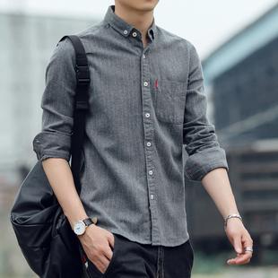秋冬条纹男士磨毛加绒长袖衬衫商务纯棉衬衣加厚大码