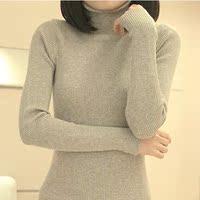 2016冬装新款针织衫女套头修身 韩版打底衫弹性纯色毛衣高领长款