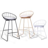 北欧时尚铁艺吧台椅子简约创意前台化妆餐椅现代酒吧休闲高脚凳