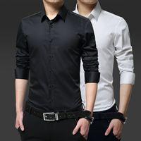 大码衬衫男加肥加大长袖衬衣商务休闲新郎婚礼特大号胖子纯色衬衫