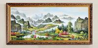 欧式油画高山流水聚宝盆客厅大型纯手绘风景有框画中式办公室F20