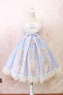Alice girl原创 lolita天使柄蕾丝蝴蝶结绑带吊带连衣裙