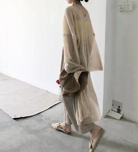 超长款防晒衣夏季薄款外套女中长款2018马海毛开衫针织衫