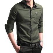 秋冬男士长袖加绒加厚保暖衬衫男式商务长袖衬衣纯棉男装