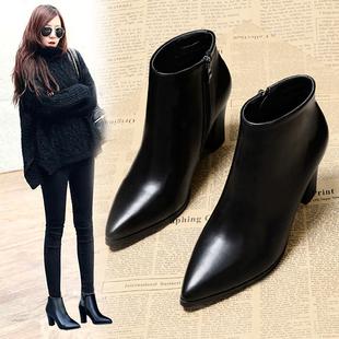 2018高跟鞋女冬季粗跟马丁靴尖头皮靴女短筒裸靴百搭短靴