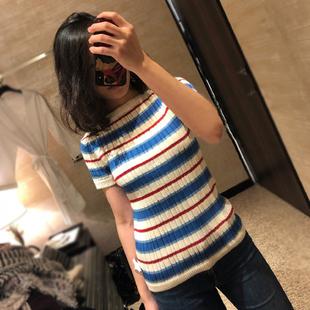 2018夏季名媛小香风显瘦撞色条纹套头针织上衣短袖T恤女