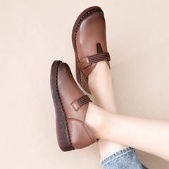 复古手工森系女鞋真皮软底百搭款平底民族风懒人单鞋厚底皮鞋