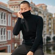 高领毛衣男士秋冬2018加绒加厚打底衫黑色线衣针织潮