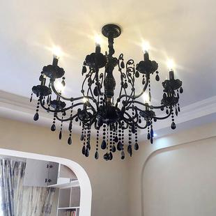 黑色水晶灯欧式客厅水晶吊灯美式餐厅卧室复古铁艺蜡烛灯饰灯具