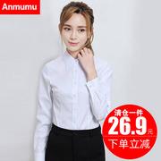 白色衬衫女长袖2018秋冬韩范职业正装工作服大码V领加绒衬衣