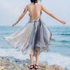 奈良吊带仙女裙海边度假露背连衣裙巴厘岛沙滩裙女夏2018显瘦