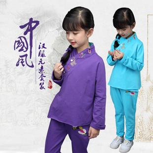 女童汉服 中国风童装原创复古刺绣长袖套装 时尚名族风春秋两件套