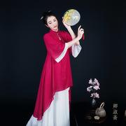 夏女装长衫中国风盘扣立领连衣裙 宽松双层雪纺禅意茶服复古上衣