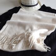 珍稀白绒水波纹羊绒围巾男女通用秋冬保暖厚款纯色小披肩珍珠黑色