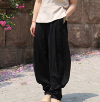 【阳光下的人】【珑缘绣色原创设计】竹节麻长裤