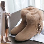 2018秋冬磨砂真皮加绒短靴女平底流苏内增高裸靴兔毛棉鞋雪地靴子