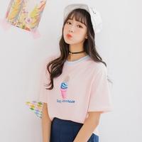 2016夏季新款可爱 韩版百搭雪糕刺绣短袖T恤女上衣特惠包邮