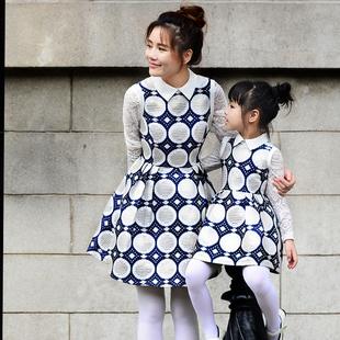 秋装亲子装2016新款魔法摇摆母女装连衣裙提花韩版蓝色白衬衫a型