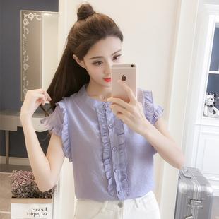 短袖雪纺衫女夏季2019超仙甜美飘逸木耳边荷叶边衬衫上衣