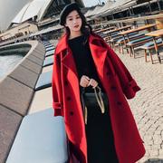 红色毛呢外套女2018秋冬中长款宽松过膝显瘦学生呢子大衣