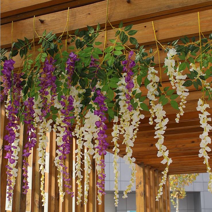 仿真紫藤花串 婚礼假花藤条 长豆花串墙壁挂装饰塑料花包邮图片