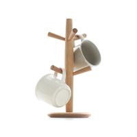 日式创意玻璃杯架实木无漆置物架榉木悬挂沥水挂杯架厨房收纳架