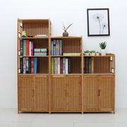 楠竹带门书柜书架自由组合实木落地置物架儿童简易书柜收纳储物柜