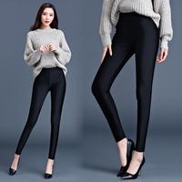 秋冬季外穿紧身大码短绒长裤女士小脚光泽修身女裤显瘦百搭打底裤