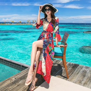海边度假红色沙滩裙女夏2018泰国民族风长裙巴厘岛雪纺连衣裙