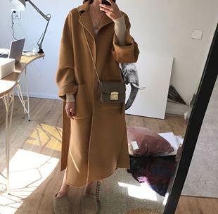 秋冬100羊毛手工双面羊绒毛呢大衣女中长款茧型宽松加厚外套韩国