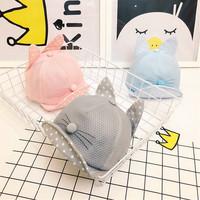 夏季儿童全网鸭舌帽子 小孩户外防水遮阳帽小猫造型翻边帽檐 帽子