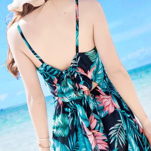 夏季女装露背吊带荷花雪纺连衣裙波西米亚长裙海边度假沙滩裙