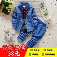 春秋新男婴幼儿童宝宝长袖小西装衬衫两件套装0-4岁中小童纯棉潮